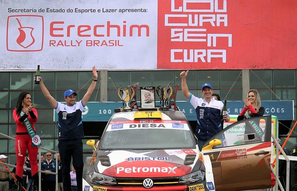 Os paraguaios Gustavo Saba (à direita) e Fernando Musano foram os vencedores do Rally de Erechim 2019 | Foto: Divulgação/PrimeCom