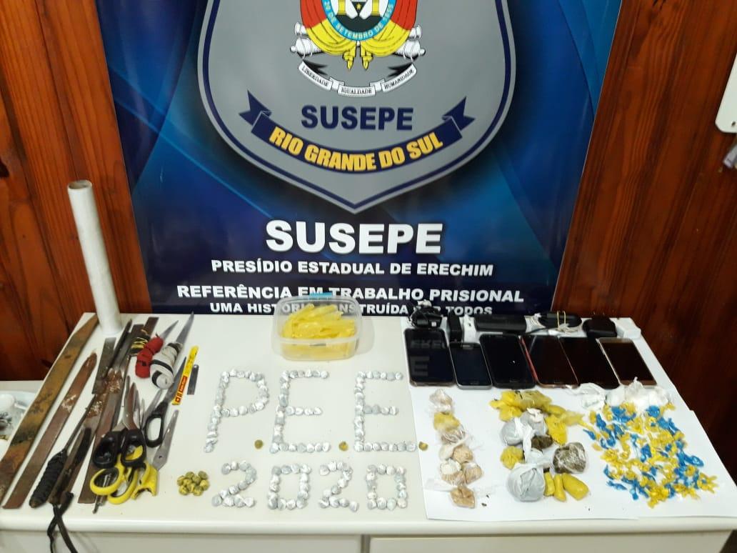 Ilícitos apreendidos no Presídio Estadual de Erechim | Foto: