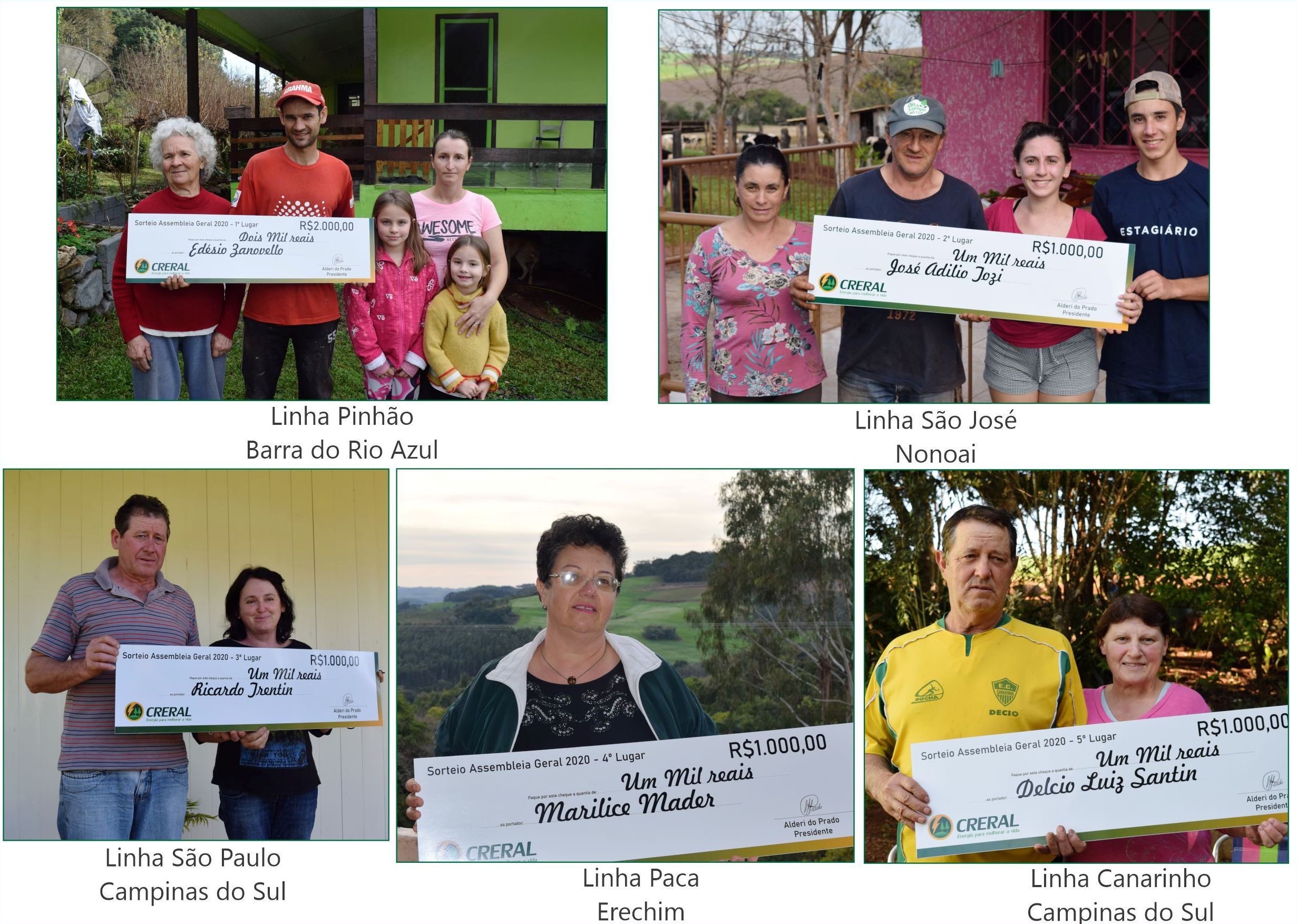 Cinco associados da Creral sorteados na campanha de atualização cadastral | Imagem: Creral/Imprensa
