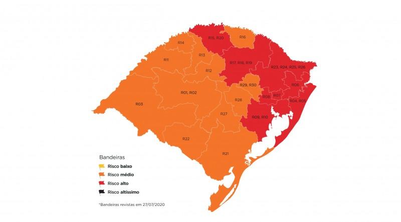 Mapa da 12ª semana do Distanciamento Controlado após aceitação de recursos encaminhados por prefeituras ou associações | Foto: SPGG