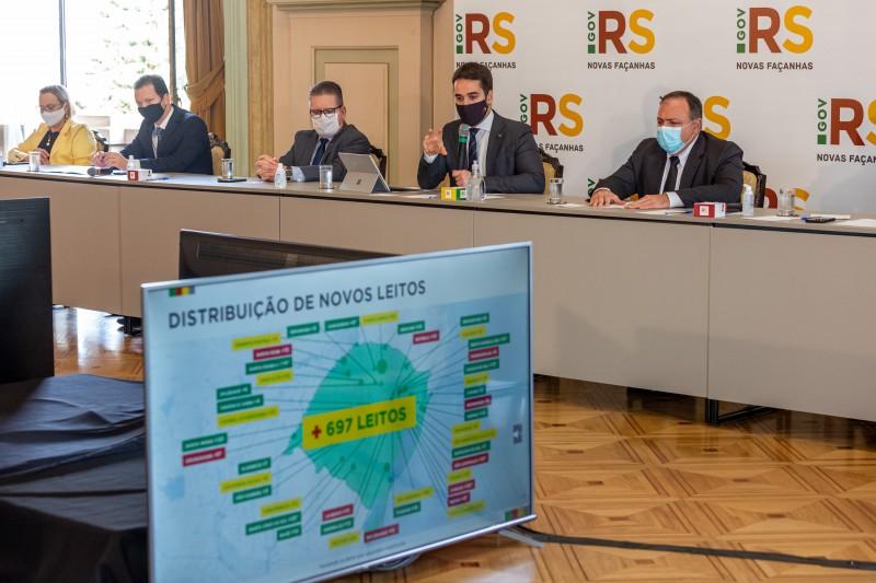 Ministro participou de reunião técnica com governador, vice Ranolfo, prefeito Marchezan e secretária Arita, entre outros - Foto: Gustavo Mansur / Palácio Piratini