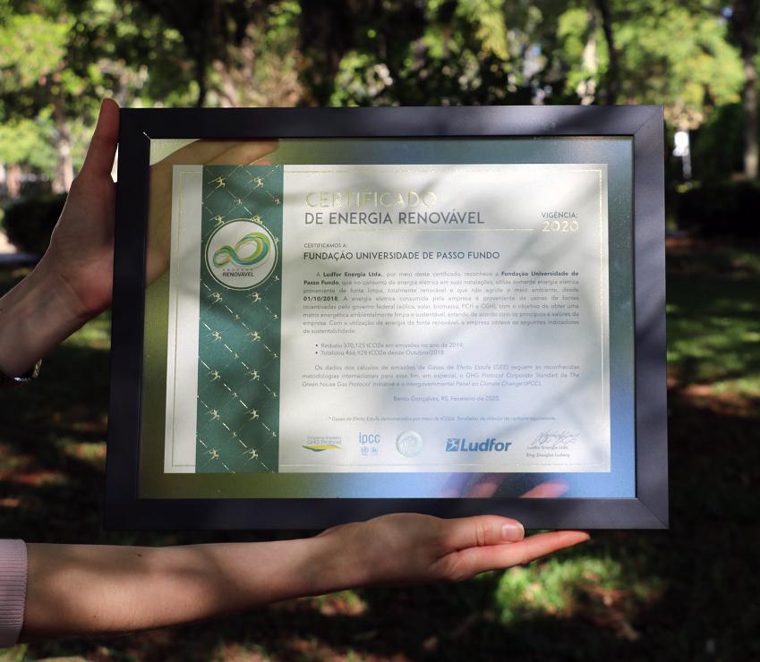 Foto: Camila Guedes FUPF recebe Certificado de Redução de Emissão de Gases de Efeito Estufa 2020